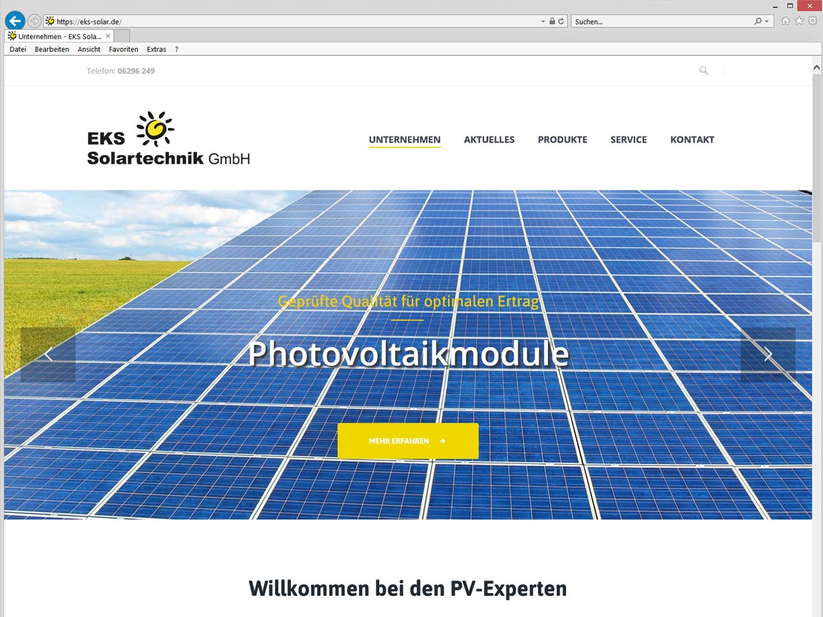 EKS Solar CMS Website - Startseite