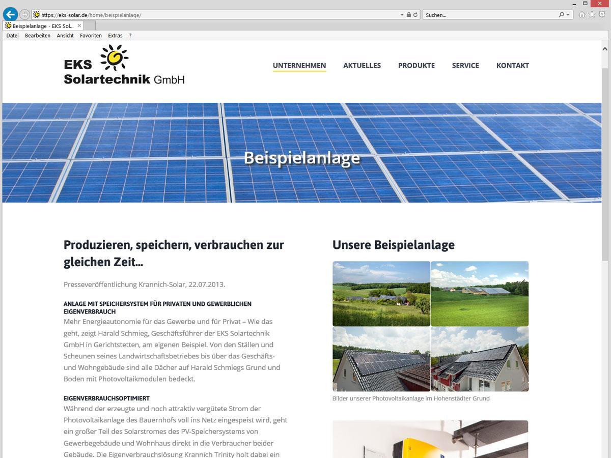 EKS Solar CMS Website - Inhaltseite