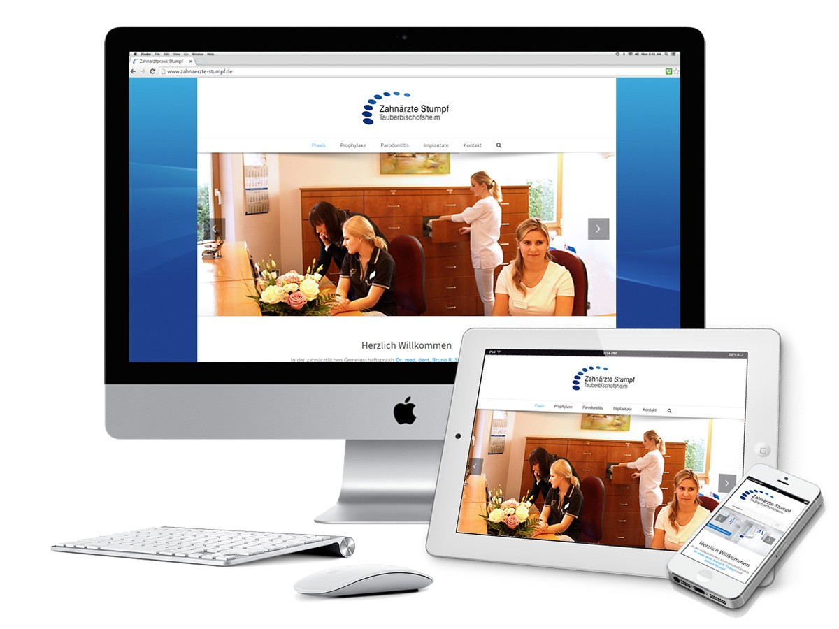 Praxis Website Zahnärzte Stumpf auf iMac, iPad, iPhone
