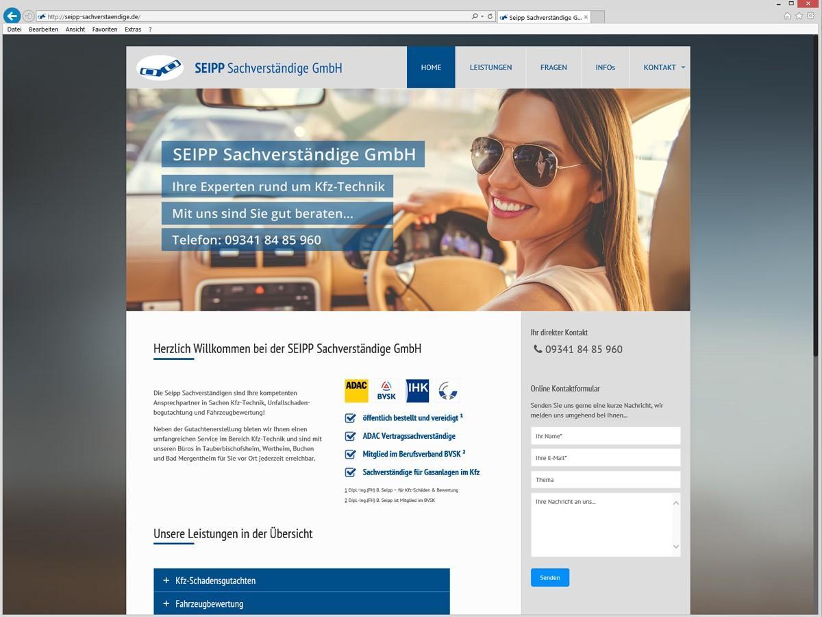 Seipp Sachverstaendige GmbH Weblayout Homepage