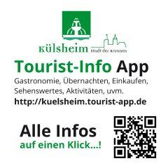 Tourist-Info App Werbehinweis, Aufkleber, quadratisch
