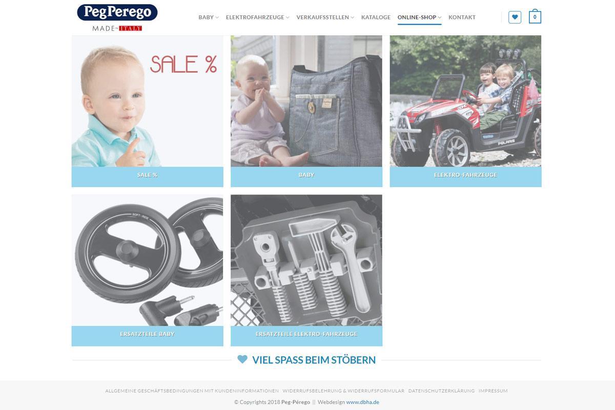 Peg-Perego Web-Shop Einstiegseite